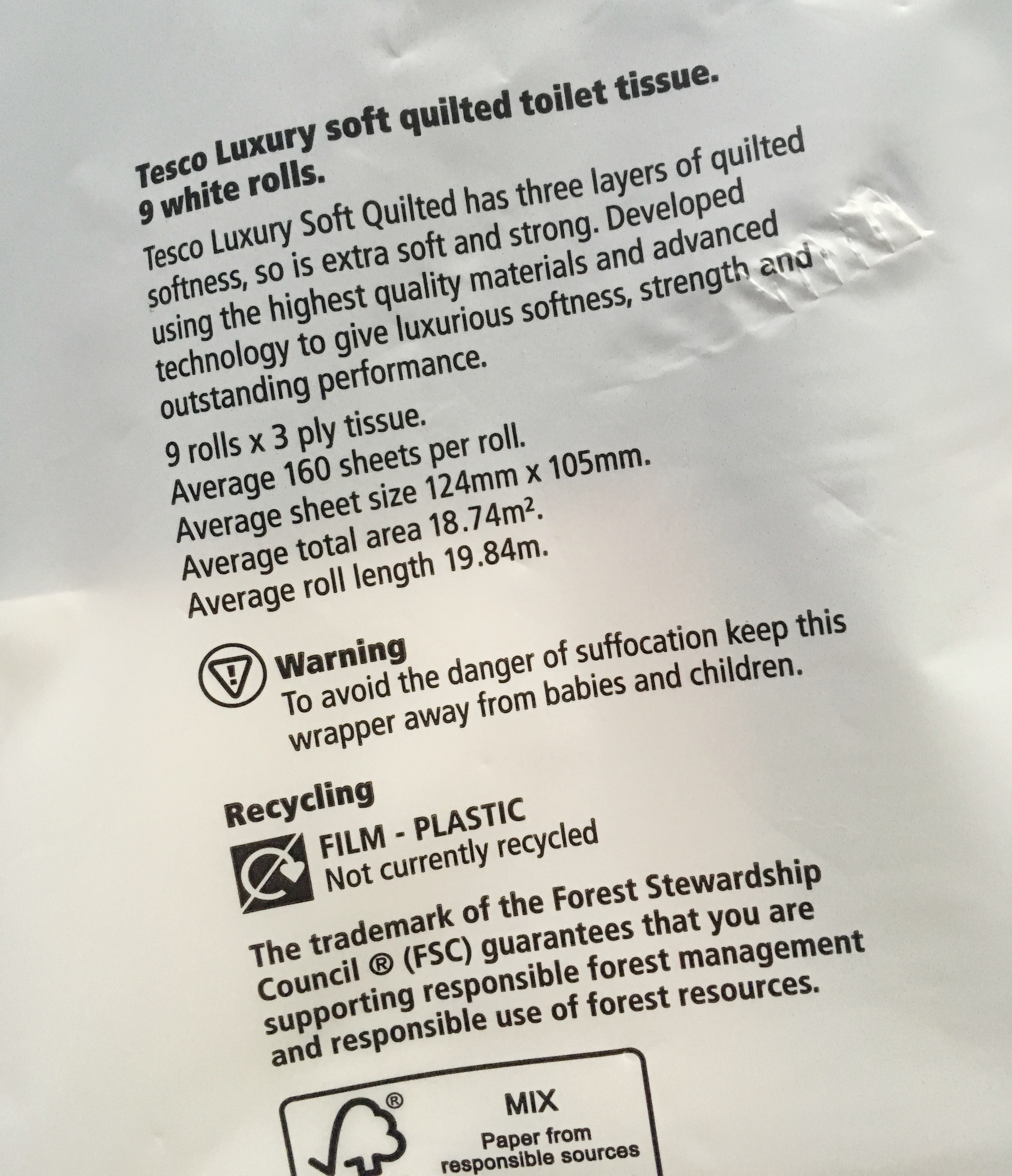 Toilet roll review by Bridget Crohns. This time she's reviewing Tesco Luxury Soft toilet paper