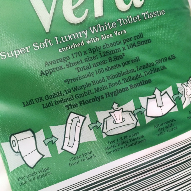 Toilet roll review by Bridget Crohns. This time she's reviewing Lidl's Floralys Aloe Vera Super Soft toilet paper